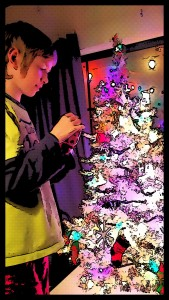 Gadget decorating Christmas tree