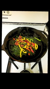 spinach & peppers in skillet